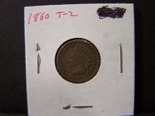 1860 Indian Head Cent.  Very Attractive & Original VG Coin.