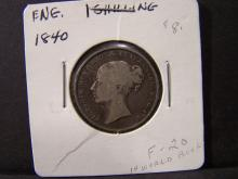 1840 Great Britain One Shilling.  Very original coin with strong details.