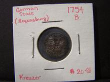 1754 Regensburg (German State) Kreuzer.  Very popular Silver Coin from 18th Century Germany!