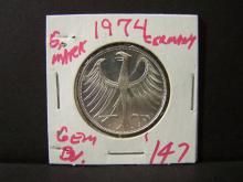 1974 German 5 Mark Silver Coin.  Brilliant Uncirculated!