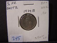 1939 Swiss 1/2 Franc.