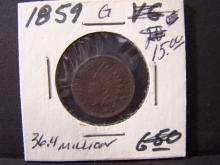 1859 Indian Head Cent.  First Year of the Indian Head cent.