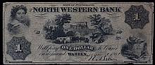 1861 One Dollar North Western Bank of Pennsylvania