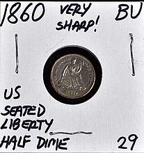 1860 U.S. Seated Liberty Half Dime BU Very Sharp!!