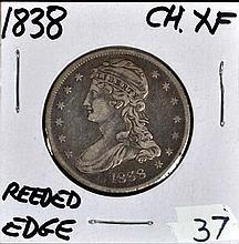 1838 U.S. Bust Half Reeded Edge CH XF
