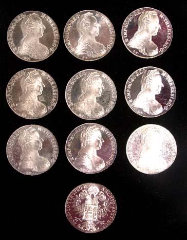 Ten (10) 1780 Austrian Maria Theresa Silver BU