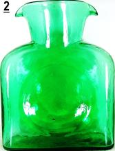 Blenko Double Spout Teal Green Carafe