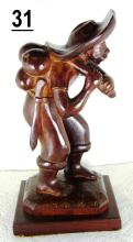 Carved Brazilian Vinhatico Wood Figurine Signed 'Souza Rio'