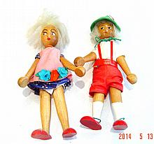 Pair Old Polish Peg Dolls