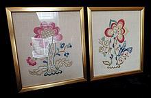 Pair Vintage Framed Needlework