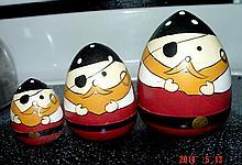 Aye Mate! Handpainted Wooden Pirate Nesting Cups