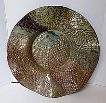 Textured Pottery Bowl Signed