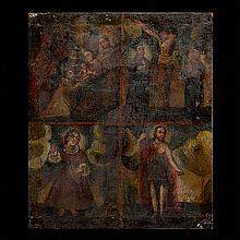 Spanish Retablo Painting on Canvas