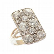 Diamond, Platinum, 18k White Gold Ring.