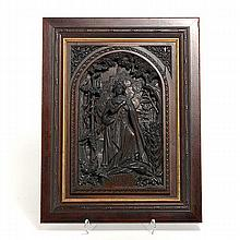 Bohemian Wood Carved Plaque