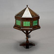 Arts & Crafts Style Wooden Lamp with Green Slag Glass