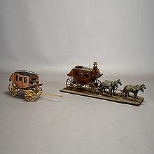 Two Wells Fargo Miniature Carriage Models