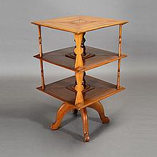 American Folk Art Inlaid Revolving Tiered Bookcase