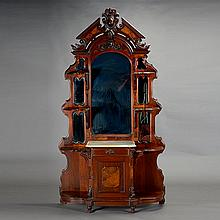 Renaissance Revival Inlaid Walnut Etagere with Marble Top