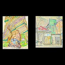 MAX POLLAK Group of 2 paintings oil on board