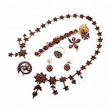Garnet, Glass, Gold-Filled, Metal Bohemian Style Jewelry Suite.
