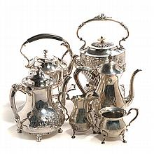 Fisher Sterling Coffee Service, Two Kettles, and Coffee Pot