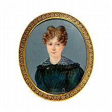 English or American School, Oval Portrait Miniature of a Lady, 19th Century, Framed