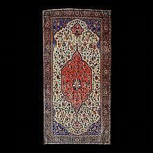 Fereghan Sarouk Silk Rug: 4 feet 1 inch x 6 feet 7 inches