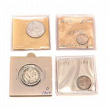 US 1902 and 1904 Quarters, 1878 and 1857 Dimes