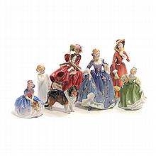 Seven Royal Doulton Bone China Figures