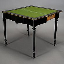 Napoleon III Ebonized Card Table with Green Velvet