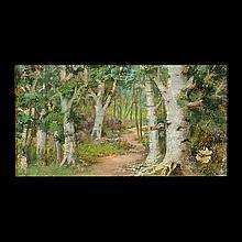 Victorian Painting on Bark, Shadow Box Frame