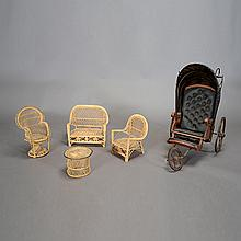 Victorian Doll Carriage and Four Pieces of Wicker Furniture