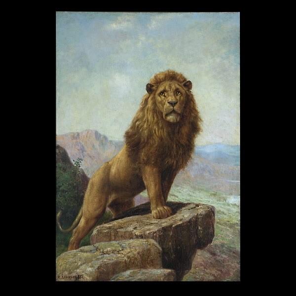 Robert Atkinson Fox, Lion in a Landscape