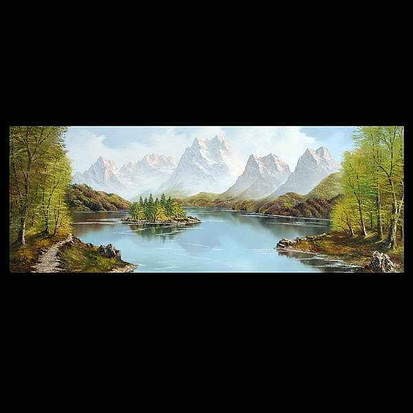 Kodeda, Mountain Landcape with Lake, oil