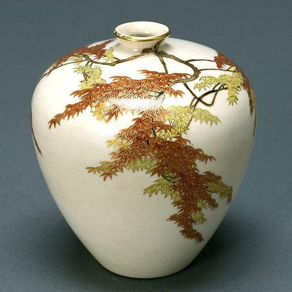 Yabu Meizan Satsuma Maple Leaf Vase