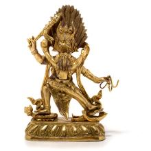 A Gilt-Bronze Figure of Yama and Consort, 19th Century