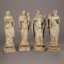 Set of Four French Baroque Style Painted Iron Figures of The Four Evangelists