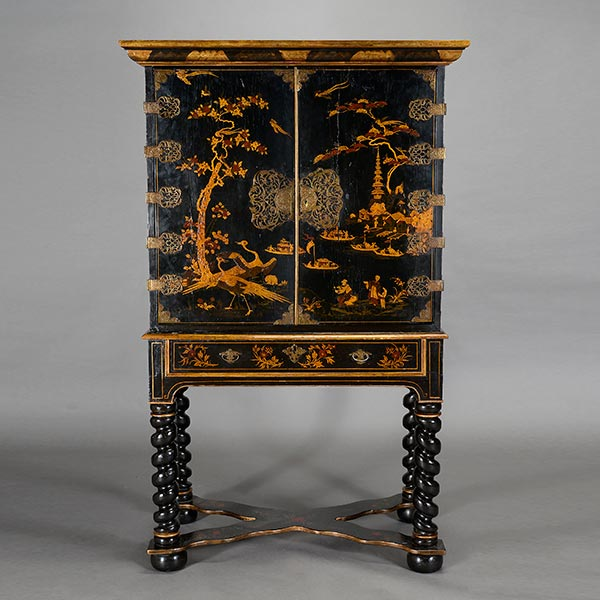 Baroque style two piece chinoiserie cabinet on stand for Baroque 2 door accent cabinet
