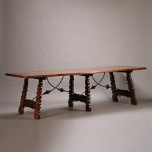 Spanish Baroque Style Iron Mounted Walnut Refectory Table
