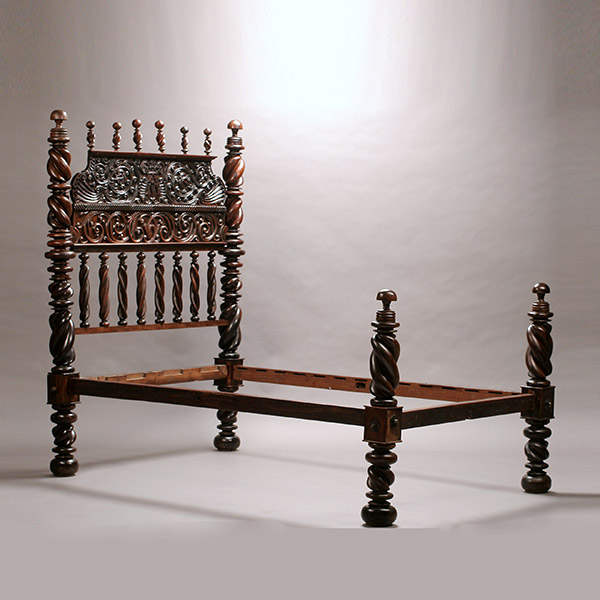 Portuguese baroque style hardwood bed for Baroque style bed