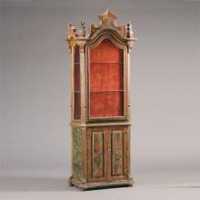 Italian Baroque Style Parcel Gilt and Paint Decorated Faux Marble Vitrine Cabinet