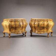 Pair of Venetian Rococo Style Parcel Gilt and Paint Decorated Commodes
