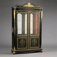 Louis XIV Style Boulle Marquetry Ebonized Vitrine Cabinet