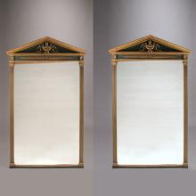 Pair of Louis XVI Style Parcel Gilt and Painted Pier Mirrors