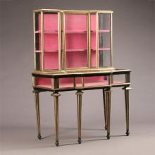 Louis XVI Style Gilt Bronze Mounted Mahogany Vitrine Cabinet
