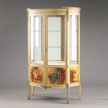 Louis XV Style Gilt Metal Mounted and Paint Decorated Vitrine Cabinet