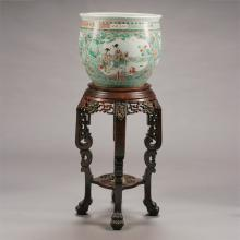 Chinese Polychrome Enameled Famille Verte Porcelain Fish Bowl With Figural Stand, 19th Century