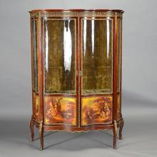 Louis XV Style Gilt Bronze Mounted and Painted Decorated Mahogany Triple Vitrine Cabinet
