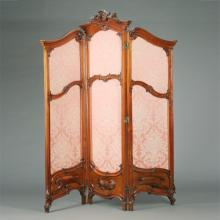 Louis XV Style Upholstered Mahogany Three Panel Floor Screen